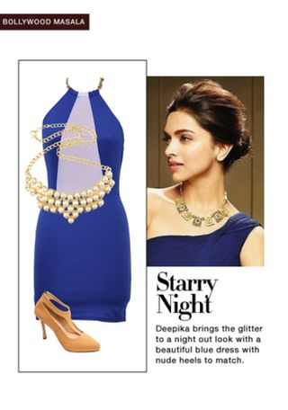 'Starry Night' by me on Limeroad featuring Gold Necklaces, Blue Dresses with Beige Pumps