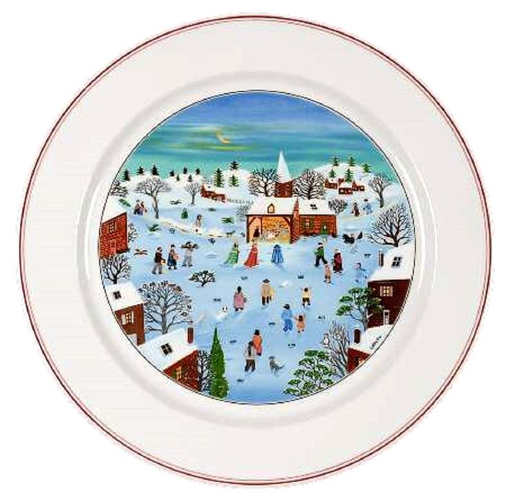 Villeroy Boch Christmas Naif Platter or Chop Plate, Luxembourg, Gift For Christmas, Village Snow Scenes, Gift For Christmas, Gift For Her