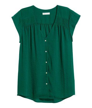Blusa de manga corta | Verde oscuro | Ladies | H&M MX