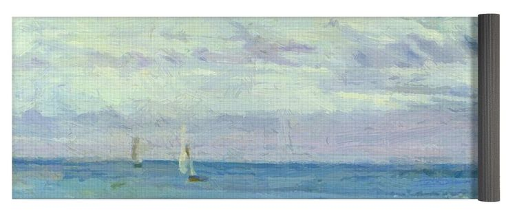 Blue Yoga Mat featuring the painting Blue And Silver Trouville by Whistler James McNeill