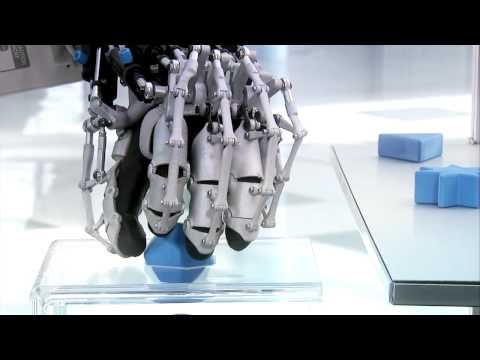 The Festo ExoHand is an exoskeleton that can be worn like a glove. The operator's hand movements are recorded and transmitted through to the robotic hand in real time. The ExoHand also uses force feedback, so the human operator feels what the robot grasps.