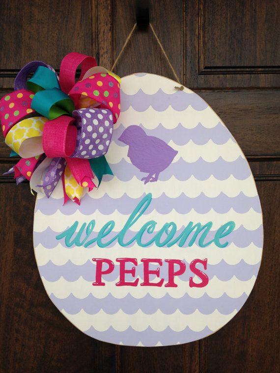 Welcome Peeps Easter Egg Wooden Door Hanger by KnockKnockRVA