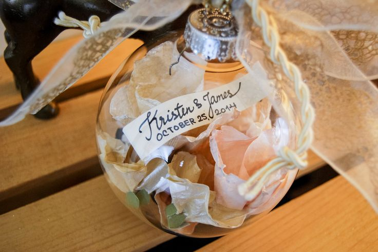 Wedding Bouquet Preservation - Ornament - Bride & Groom Scroll - www.hanawillowdesign.com