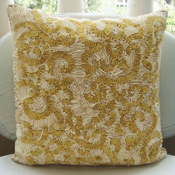 Designer Gold Pillow Cases 16x16 Silk Throw by TheHomeCentric