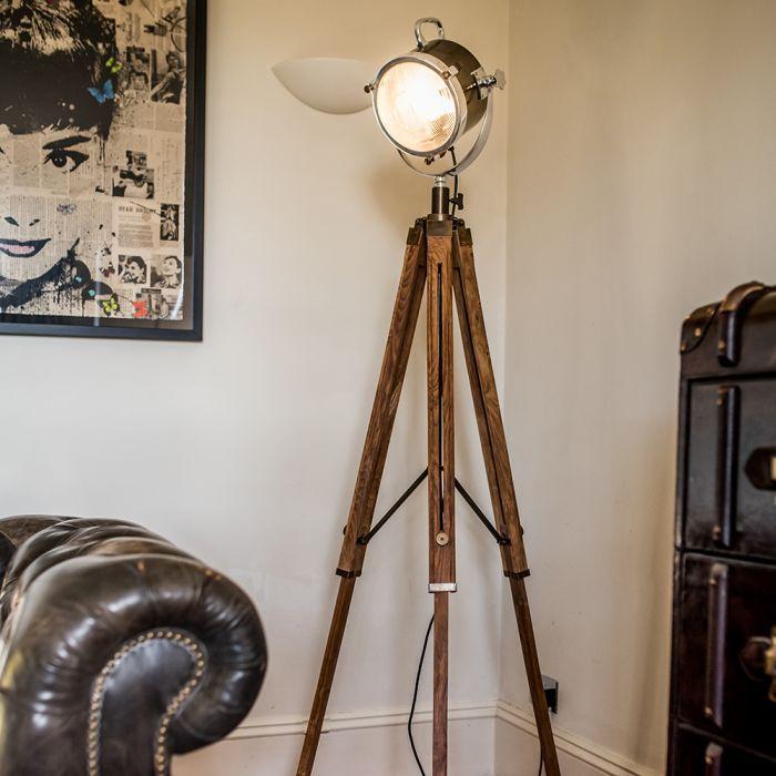 Spotlight Floor Lamp With Two Tone Natural Wood Tripod Spotlight