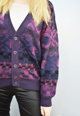 80'S ABSTRACT PATTERN OVERSIZED GRANDADS KNIT CARDIGAN TOP
