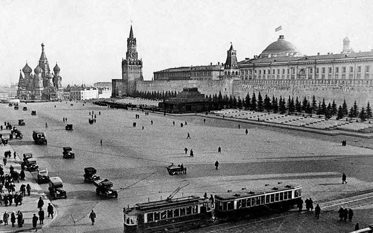 Moscow trams on Red Square in 1929