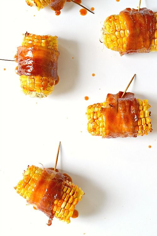 Sriracha Bacon Wrapped Corn on the Cob (Can be made in the oven or on the grill) + $50 Visa Gift Card #Giveaway
