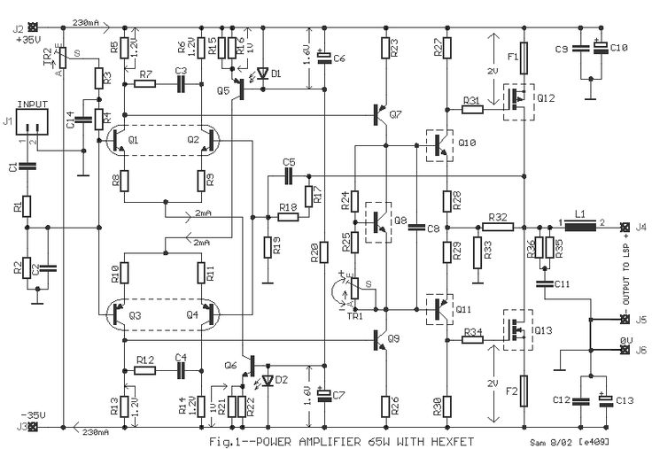 power amp 65w hexfet  circuit