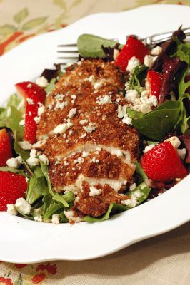 Pecan Crusted Chicken with strawberry salad