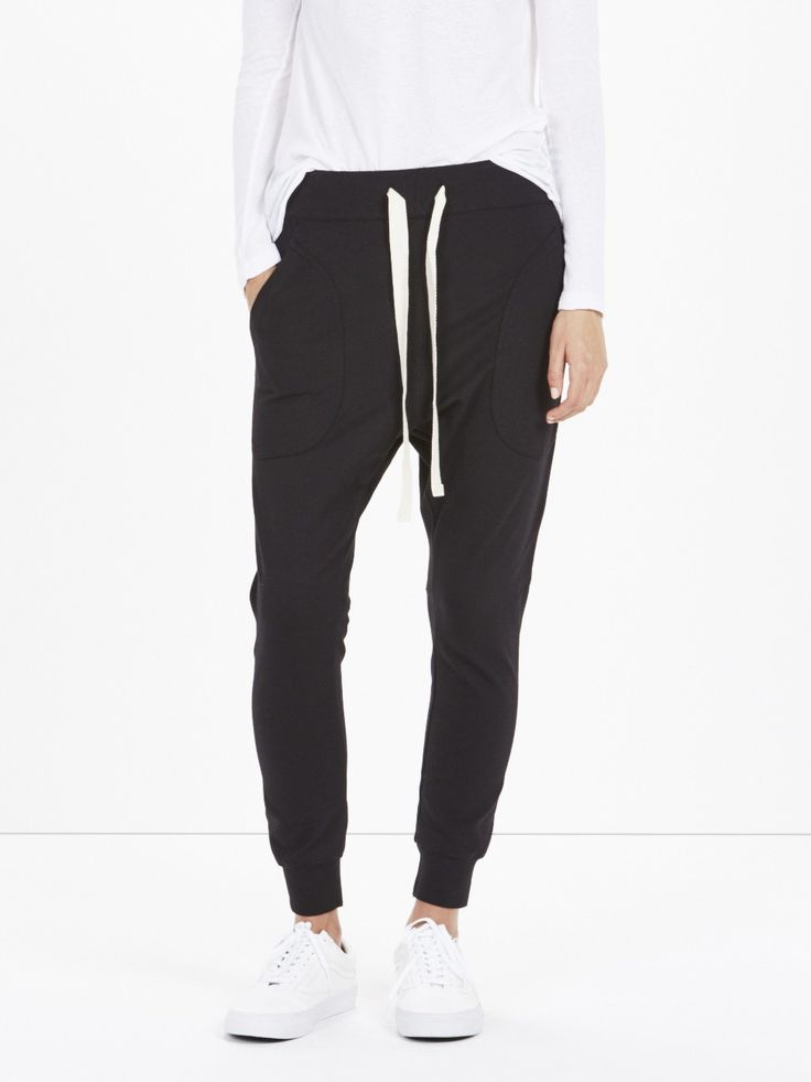 stretch lo rise trackpant / black