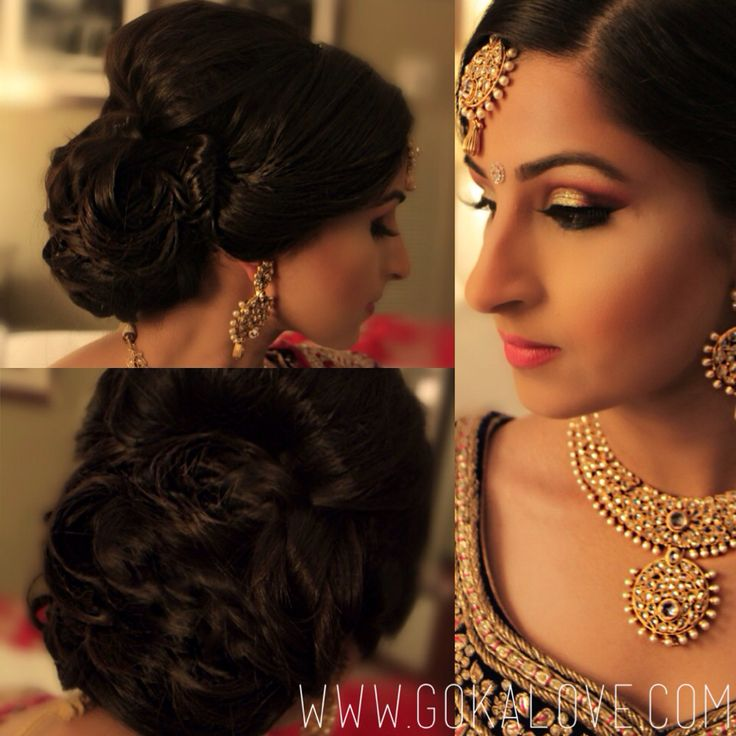 Makeup and Hair for an Indian Wedding Reception! Gold and Pink eyeshadow with glitter, Indian Pakistani bride, hairstyle, chignon, curls