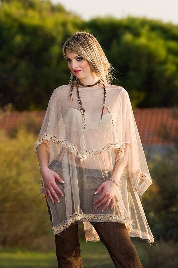 Blusa Poncho Copricostume in tulle di pura seta. di AltaModaDonna