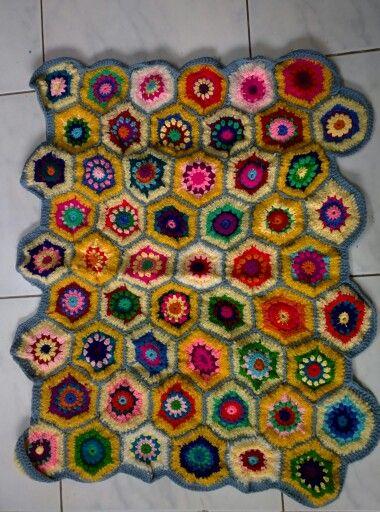 Granny hexagon throw