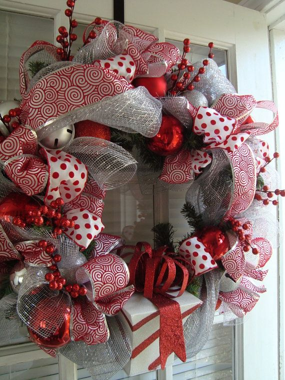 Silver and Red Chrismas Wreath by crossingstems on Etsy: Christmas Wreaths, Silver Christmas, Red Chrisma, Chrisma Wreaths, White Christmas, Red Christmas, Christmas Decor, Holidays Wreaths, Gifts Boxes