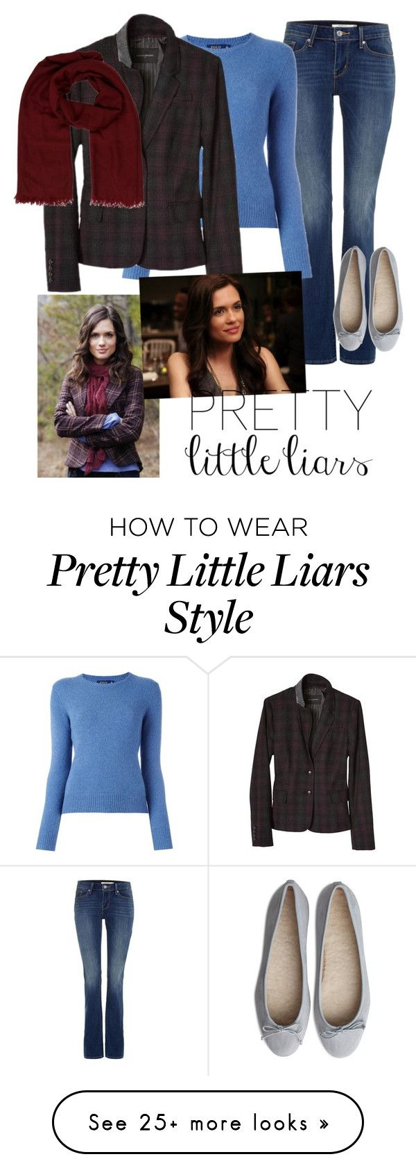 """MELISSA HASTINGS - PLL SERIES"" by ecarri on Polyvore featuring Levi's, Polo Ralph Lauren, Banana Republic, Hermès and Melissa"