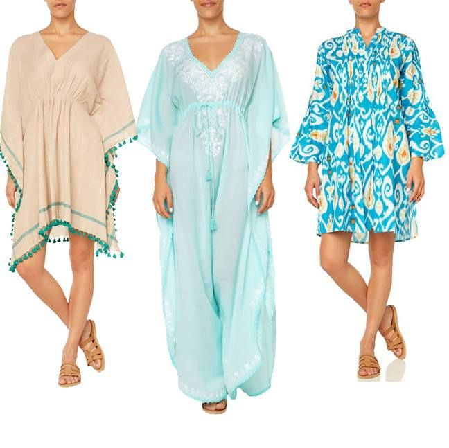 Hit the #Beach in Style with our Quintessential Coverup Roundup! #queencalliope #beachchic #islandbound #wecreateharmony   Shop the looks from Left to Right:  Beige & Teal Kaftan: http://bit.ly/1BM9xkx Light Blue Embroidered Kaftan: http://bit.ly/1K9YYc1 Ikat Print Kaftan: http://bit.ly/1GHzAIl