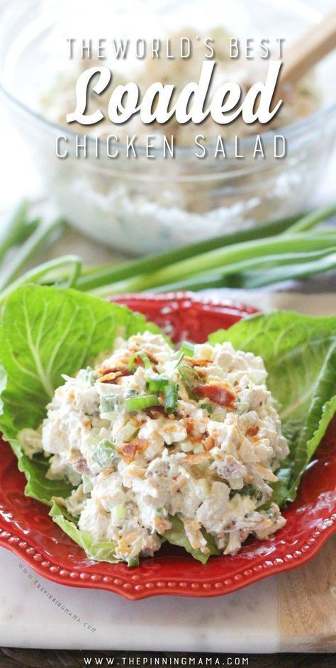 A creamy chicken salad recipe mixed with all your favorite flavors on a baked potato: sour cream, cheddar cheese, bacon and chives. This will be your new favorite lunch without a doubt.. You can make it into a sandwich or go with low carb options like ser