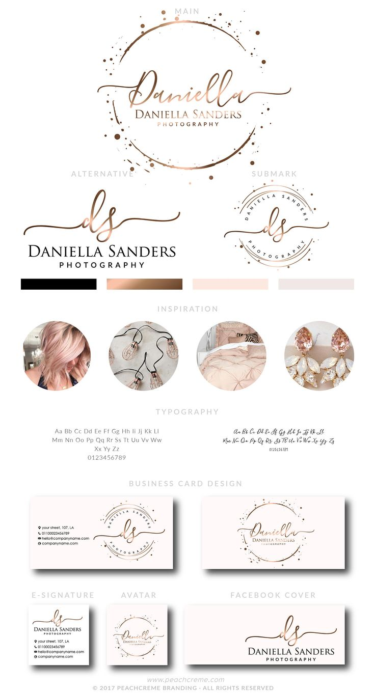 Rose Gold Logo, Branding Package, Rose gold Branding kit Logo Design Premade Branding Package, stamp,  Photography Logo, watermark by PeachCreme