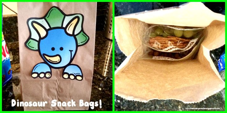 Dinosaur snack bags.  Use pretzels, grapes and Nestle Crunch Buncha to make fun dinosaur snacks!  Perfect for dinosaur themes, dinosaur units and dinosaur themed birthday parties.  Dinosaur snack.  Dinosaurs.