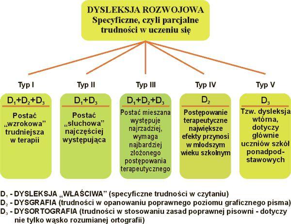 Formy przejawiania się zaburzeń dyslektycznych