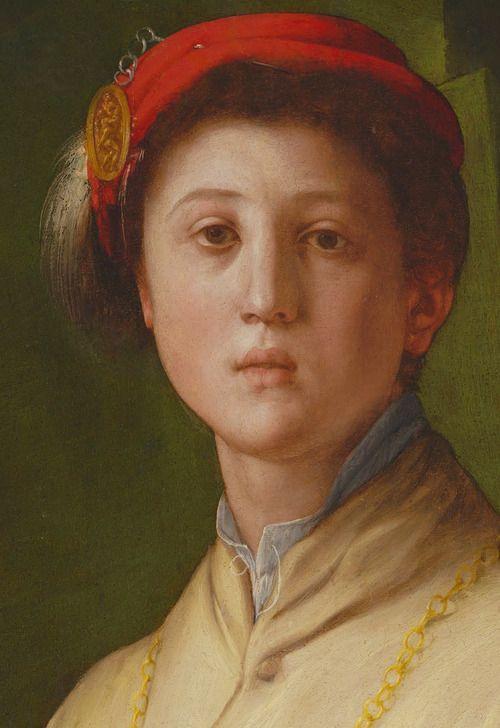 Pontormo. Detail from Portrait of a Halberdier, 1530.