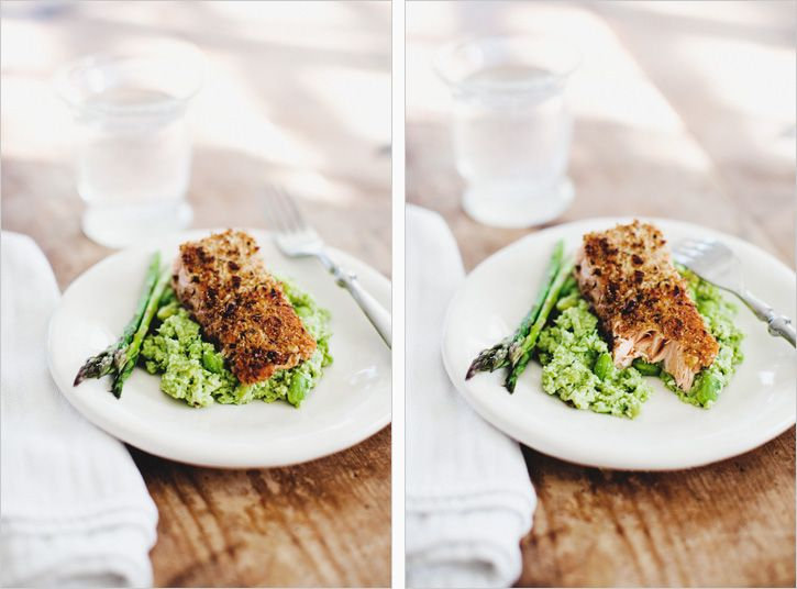 Walnut Crusted Wild Salmon & Edamame Mash by sproutedkitchen: This meal is packed with 'superfood' ingredients, lots of protein and is unique enough to feel like a special dinner. #Salmon #Walnuts #Edamame #Healthy