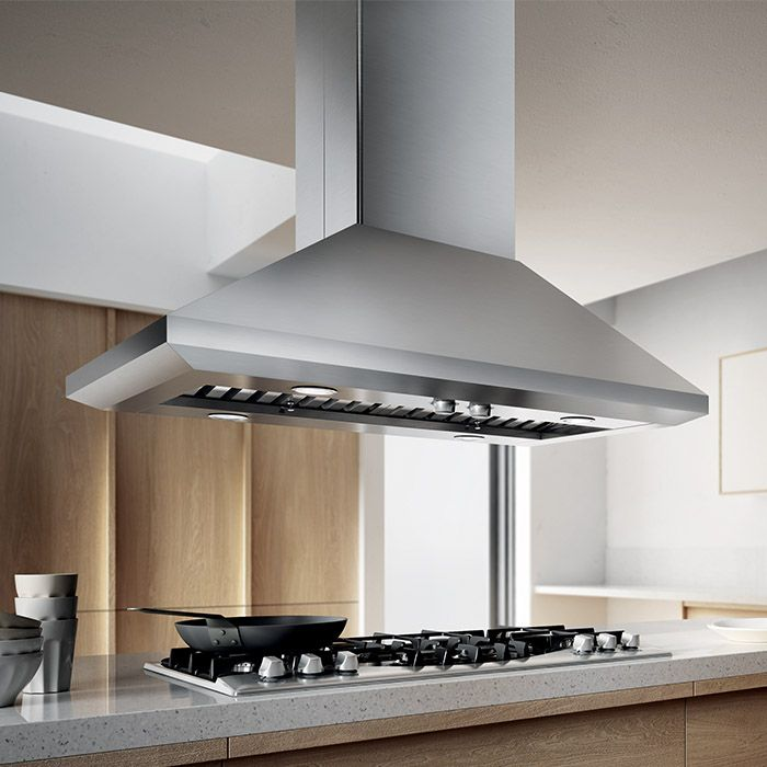 LEONE ISLAND -Give your kitchen a splash of Italian design with a chimney style island hood that has the extra depth and power required to support professional ranges and cooktops.