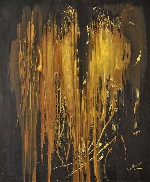 blastedheath: Alexis Preller (South African, 1911-1975), Impression d'or, 1962. Paint and gilding on black background, 102 x 86 cm.