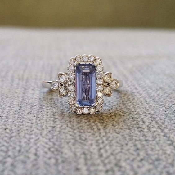"""Victorian Light Blue Sapphire Halo Diamond Flower Gemstone Engagement Ring Antique Filigree Emerald Cut 14K White Gold """" The Margaret"""" – HOLY HELL THIS IS GORGEOUS!!! @Kendelle Pelot"""