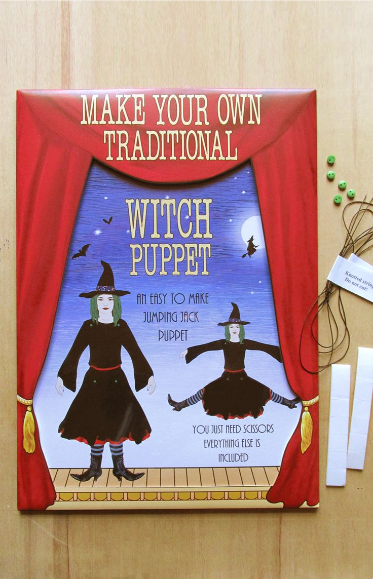 the front of the witch puppet making kit, with contents