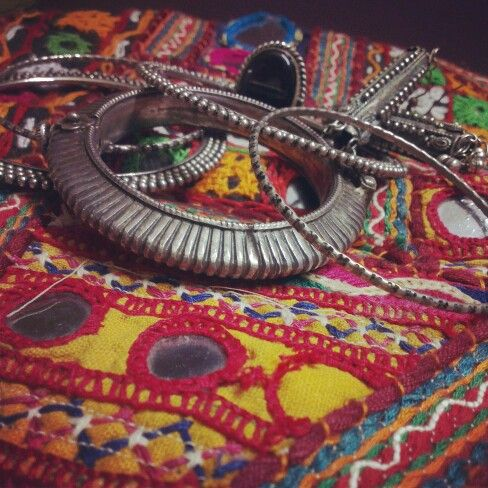Indian jewellery. Rings, bangles  applique work