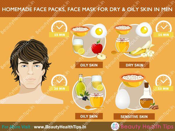 Homemade face packs, masks for dry & oily skin for men in Hindi - मर्दों की सूखी एवं तैलीय त्वचा के लिए घरेलू फेस पैक्स एवं मास्क