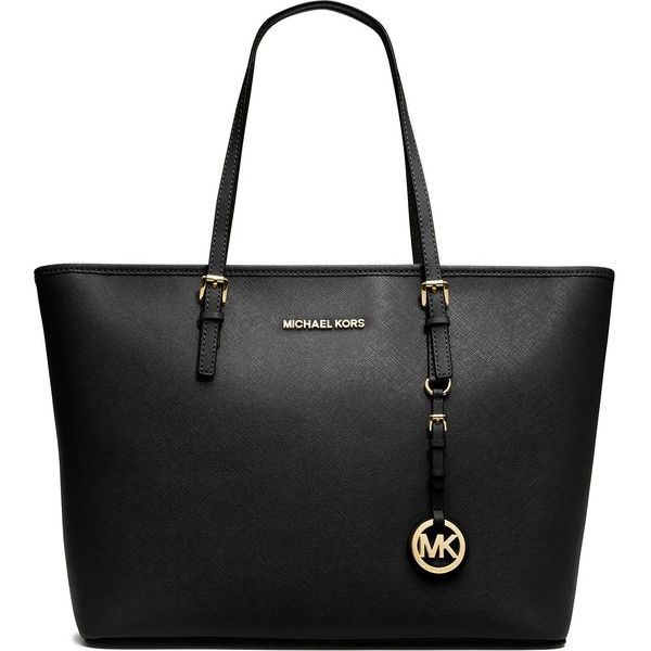MICHAEL MICHAEL KORS Jet Set Travel medium saffiano leather tote ($365) ❤ liked on Polyvore featuring bags, handbags, tote bags, purses, totes, bolsos, black, michael michael kors tote, flap handbags and flap purse