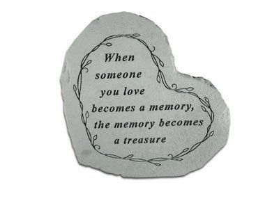 Small Heart Stepping Stone- When someone you love by Kay Berry. $22.02. Weatherproof; suitable for indoor or outdoor use. Product dimensions: 8 1/2 x 7 inches. See our large line of KayBerry cast stone benches, garden stakes, garden accent stones, and memorial markers. Made in the USA. Small Heart Stepping Stone Great Garden Gift Garden accent stones add character and beauty to gardens, mulch beds and entry ways. Each stone is handcrafted and made of a concrete composite, dur...
