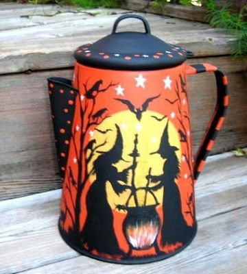 Awwwwesome witch's coffee pot!! 10 in tall Painted both sides by Peggy! Great designs!!!!