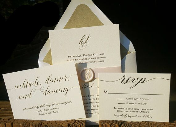 Gold Foil and Black Letterpress Wedding Invitations by Dancing Pen & Press