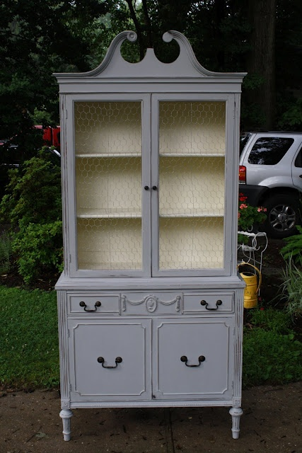 Annie Sloan Paris Gray China Cabinet Painted China