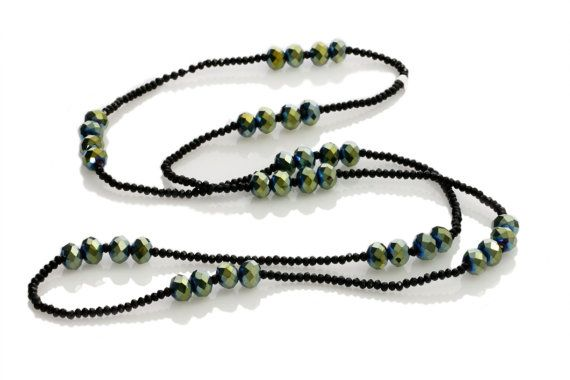 Long Green-Blue Iridescent Crystal Necklace - Crystal Necklace - Boho Inspired Long Necklace - KTC-325