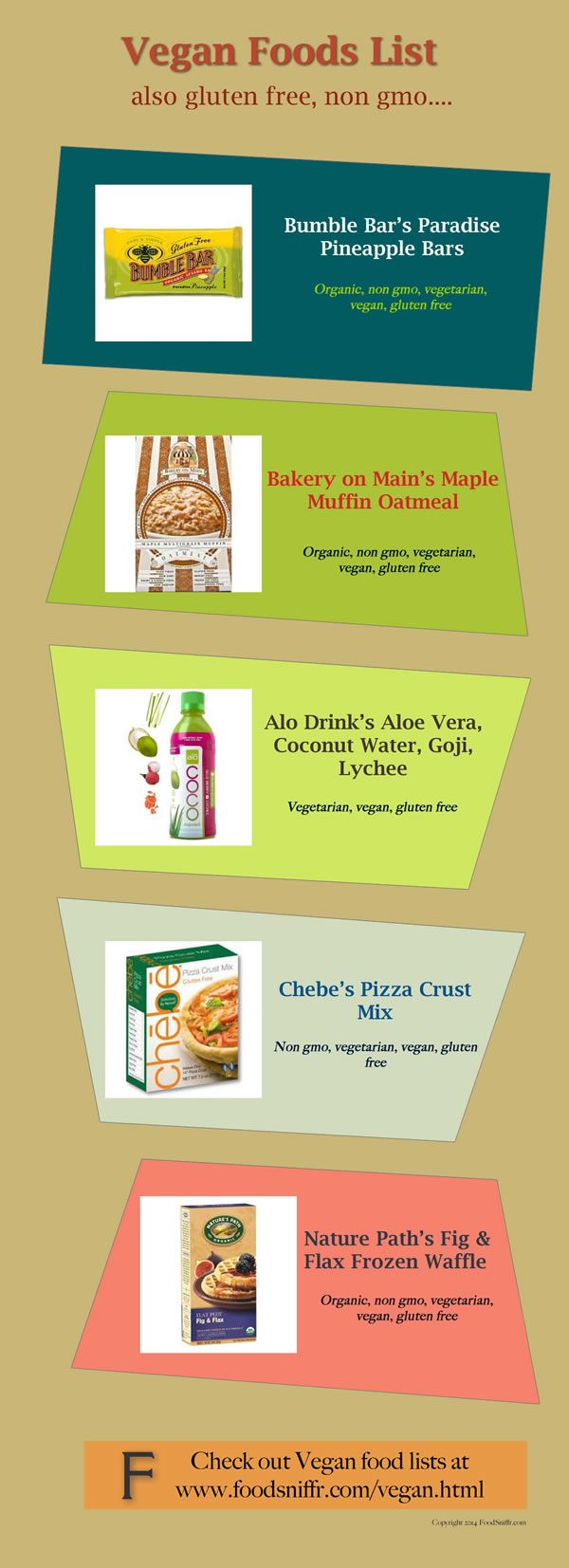 Vegan Foods List -  							 								 							 						  Vegan Foods List also check out FoodSniffr Vegetarian Food Lists at www.foodsniffr.com/vegetarian.html