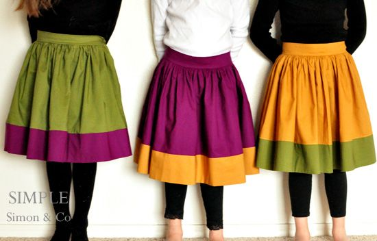 Girls Vintage Look Color Block Skirt tutorial by Simple Simon - fits all sizes with no pattern required