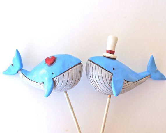 Nautische Wale in Liebe Hochzeitstorte von cortneyrectorwedding