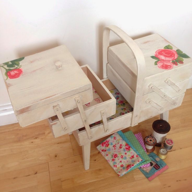 A World of Imagination: Upcyled Cantilever Sewing Box.......from orange pine to shabby chic.