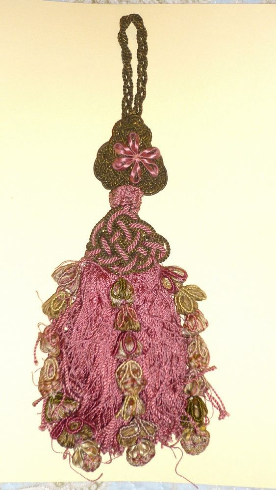 Antique French Passementerie tassel metallic gold and pink in Antiques, Fabric/ Textiles, Other Fabric/ Textiles | eBay