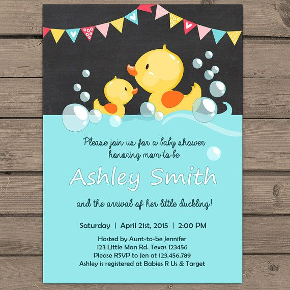 Duck Baby Shower invite Rubber duck Baby door Anietillustration