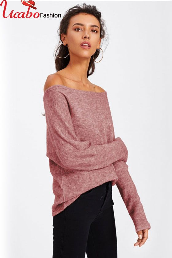 07e3e58b70bf4e Womens Off the Shoulder Casual Knit Jumper Ladies Oversized Baggy Sweater  Tops | Long sleeve Tops For Fall | Baggy sweaters、Tops 和 Women