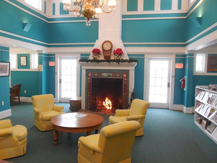 Mackinac Island Public Library  Good fire going in the fireplace this morning, ready for the day!