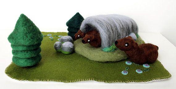 Needle Felted Bear Habitat Woodland Play Set Soft by kmwatkins, $150.00 https://www.etsy.com/listing/188750109/needle-felted-bear-habitat-woodland-play