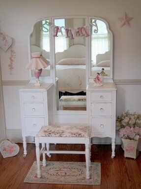 White vanity table with mirror and bench 1