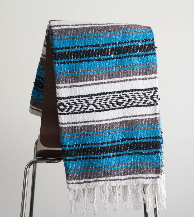 Manta mexicana rica en azul y blanco Yoga manta, tejido, Sarape, Azteca tiro Falsa a
